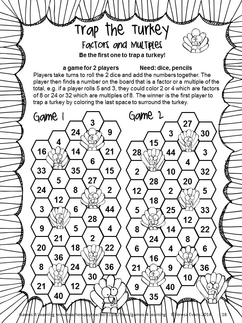 medium resolution of NO PREP Thanksgiving Math Games Fourth Grade with Turkeys