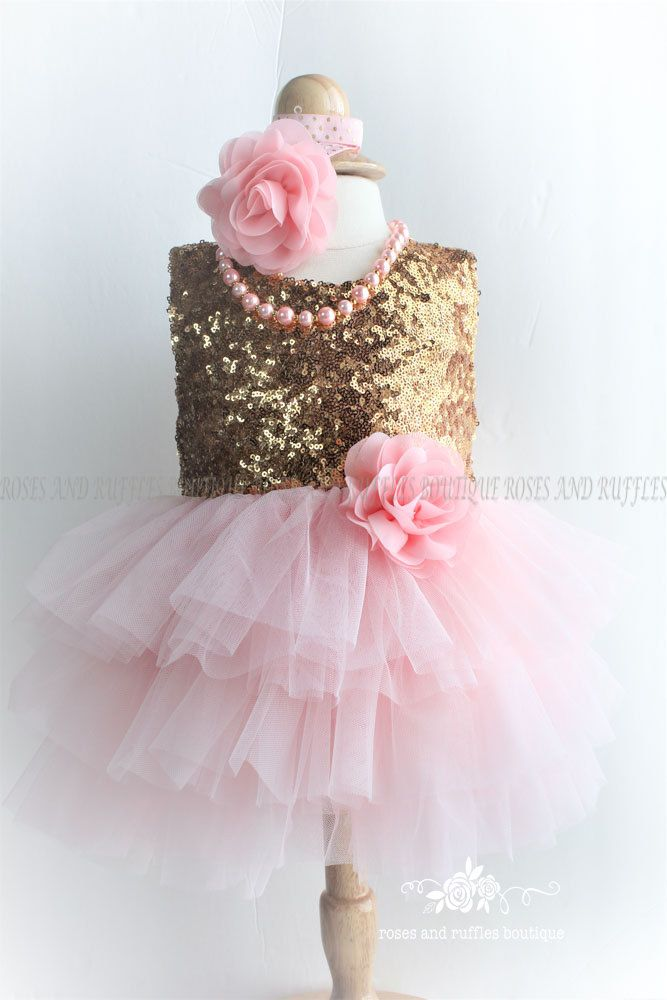 Gold and Pink Baby Dress, Birthday Dress, Baby Photo Prop