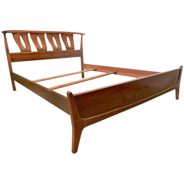 sculpted mid century modern bed frame by kent coffey - Mid Century Modern Bed Frame