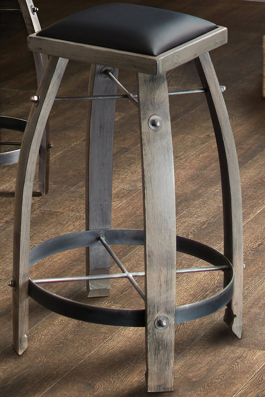 Vintage Oak Wine Barrel Bar Stool