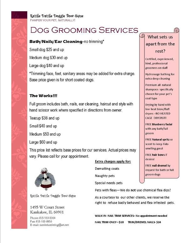 Dog Grooming Prices Google Search Dog Grooming Salons