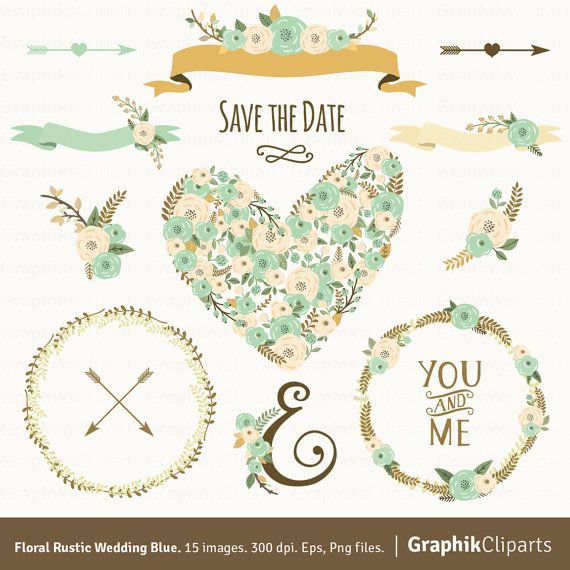 Floral Rustic Wedding Blue FLORAL CLIPART Heart Wreaths Ribbons 15 Images 300 Dpi Eps Png Files Instant Download