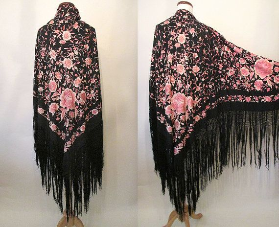 ea370eeea4d Reserved Amazing Hand Embroidered Vintage Spanish Shawl Piano Shawl ...