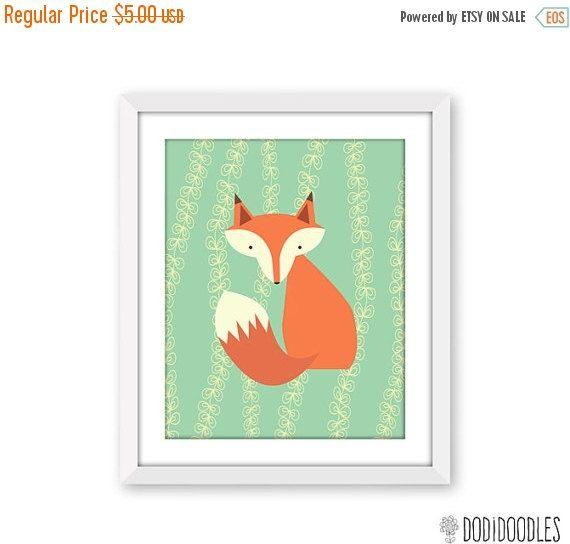 70% OFF THRU 8/31 Fox Printable 8x10 Art Print by dodidoodles
