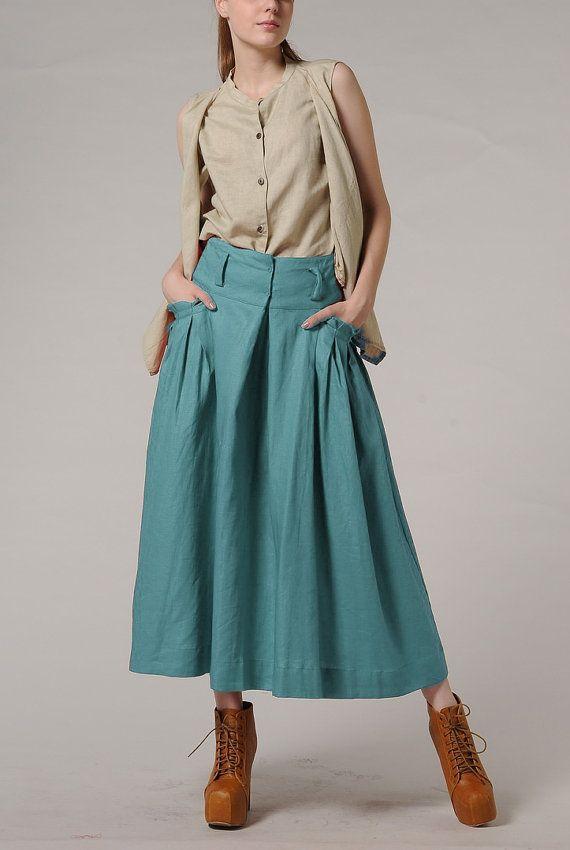 Long Linen Skirt in Aqua / Ruffle Skirt / Maxi Skirt  -by Camellia tune