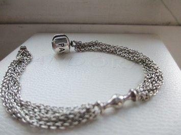 b204f0e87 Pandora Authentic Pandora Multi-Strand Capture Bracelet - 1 Clip Station  small size 6.7