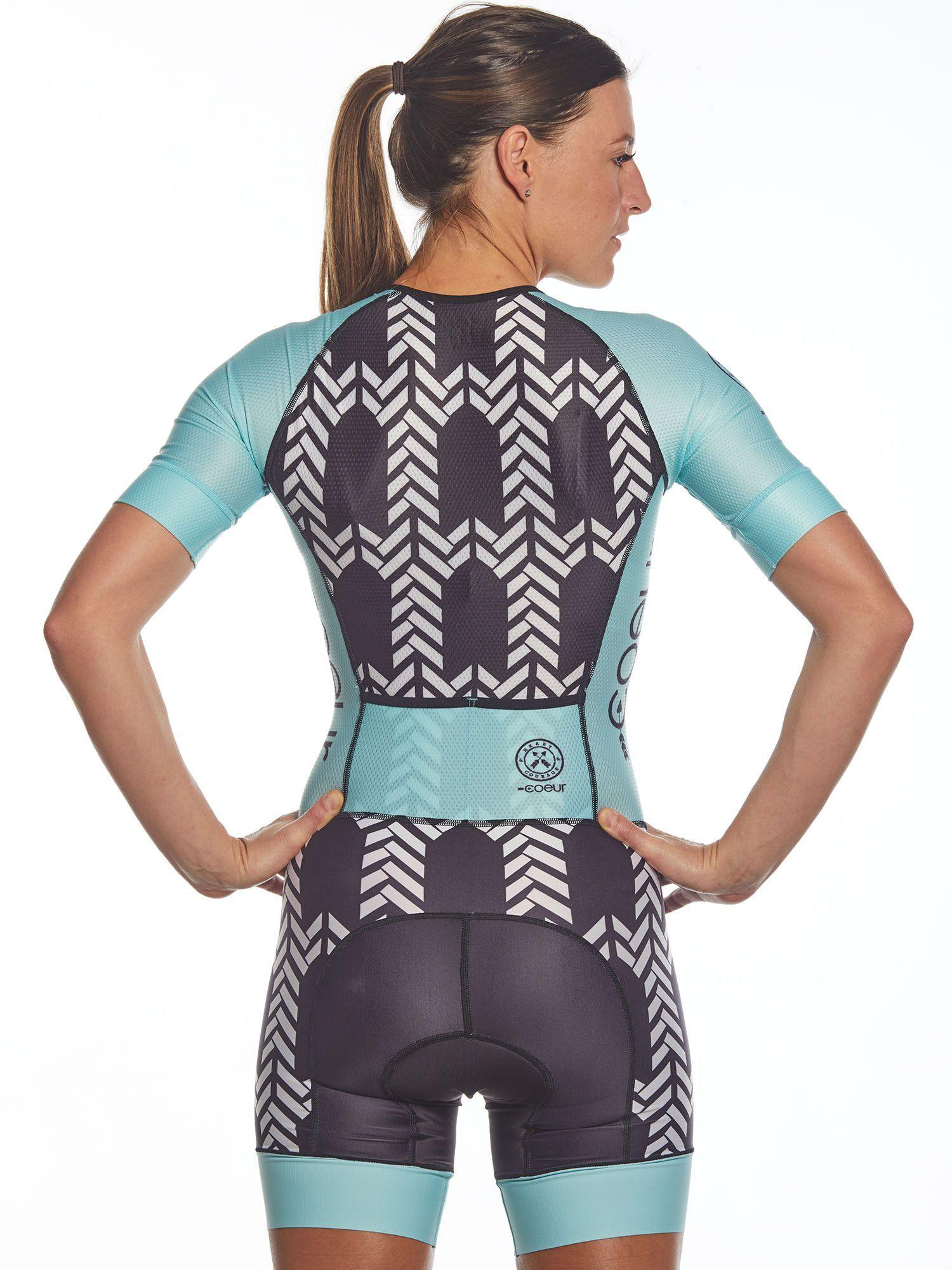 Women's Sleeved One Piece Triathlon Suit - Blue Arrow