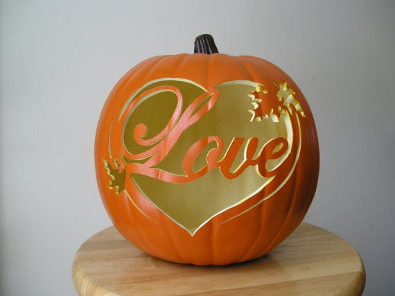 Love with leaves carved decorative fall wedding pumpkin