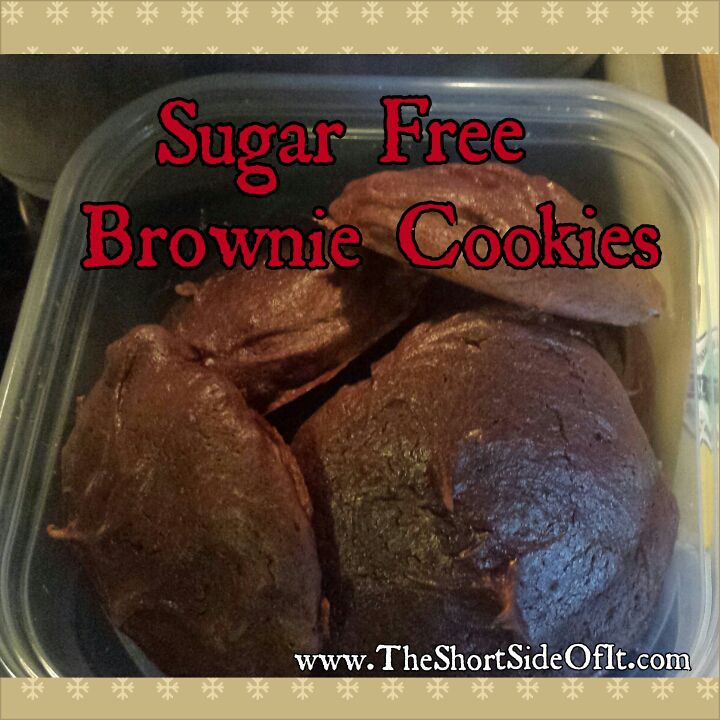 Sugar Free Brownie Cookies. 2 Ingredients  10 minutes!  Delicious, making these for every holiday get together!!!  www.theshortsidofit.com