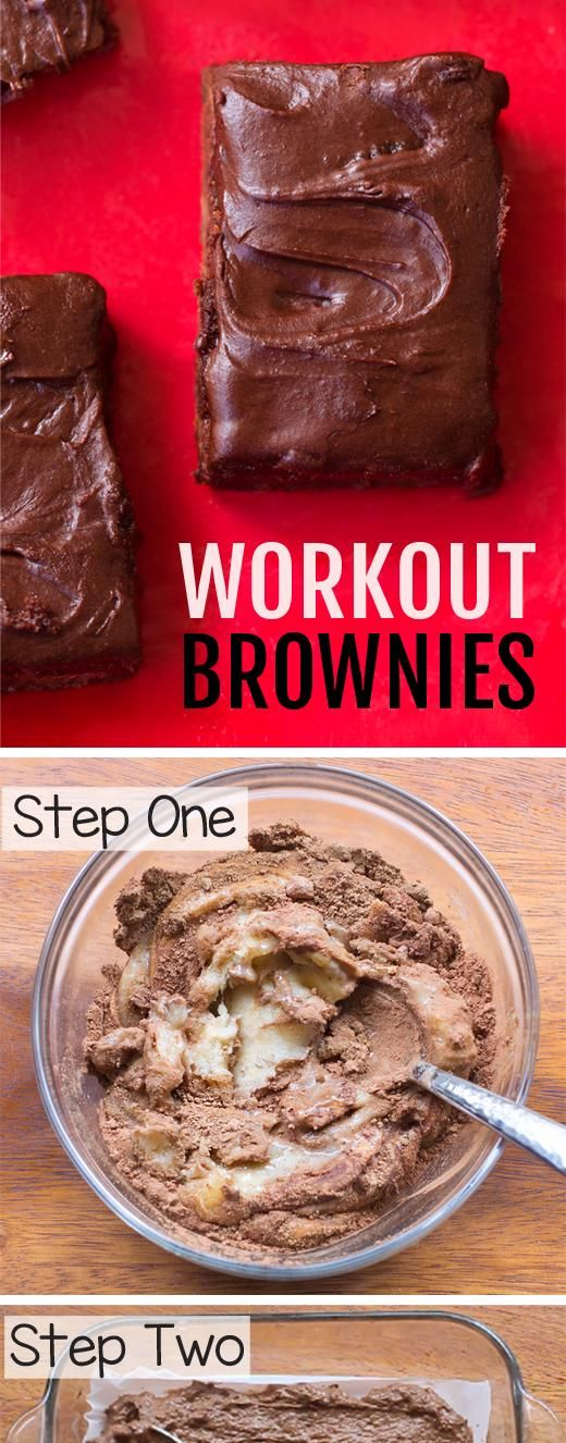 These secretly-good-for-you chocolate workout fitness brownies are high in protein, gluten free, oil...