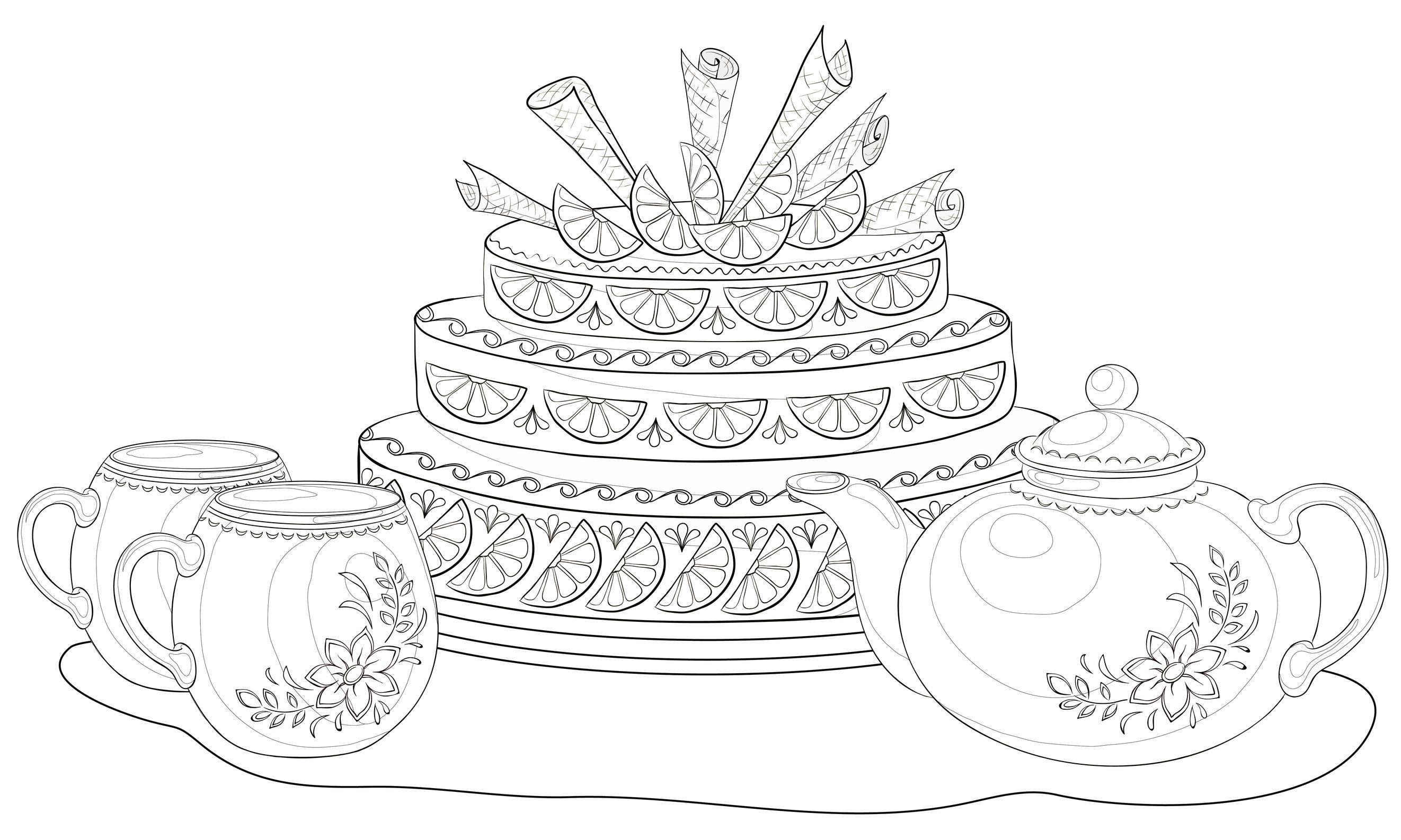 Coloriage g teau trois tages tasses de th et th i re coloriage gourmand pinterest - Coloriage gateau anniversaire 5 ans ...