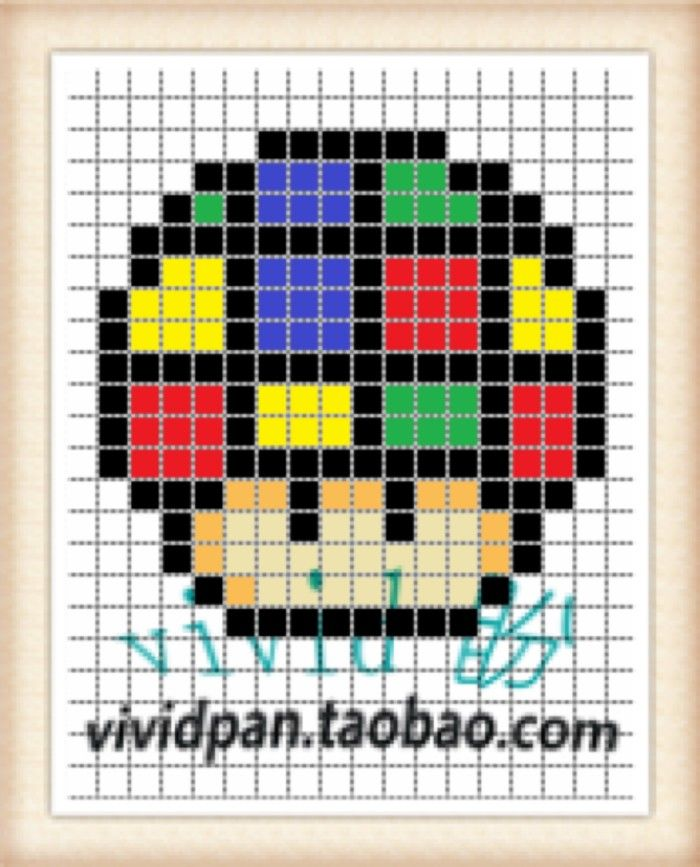 Rubiks Cube Mushroom Perler Bead Pattern Perler Bead