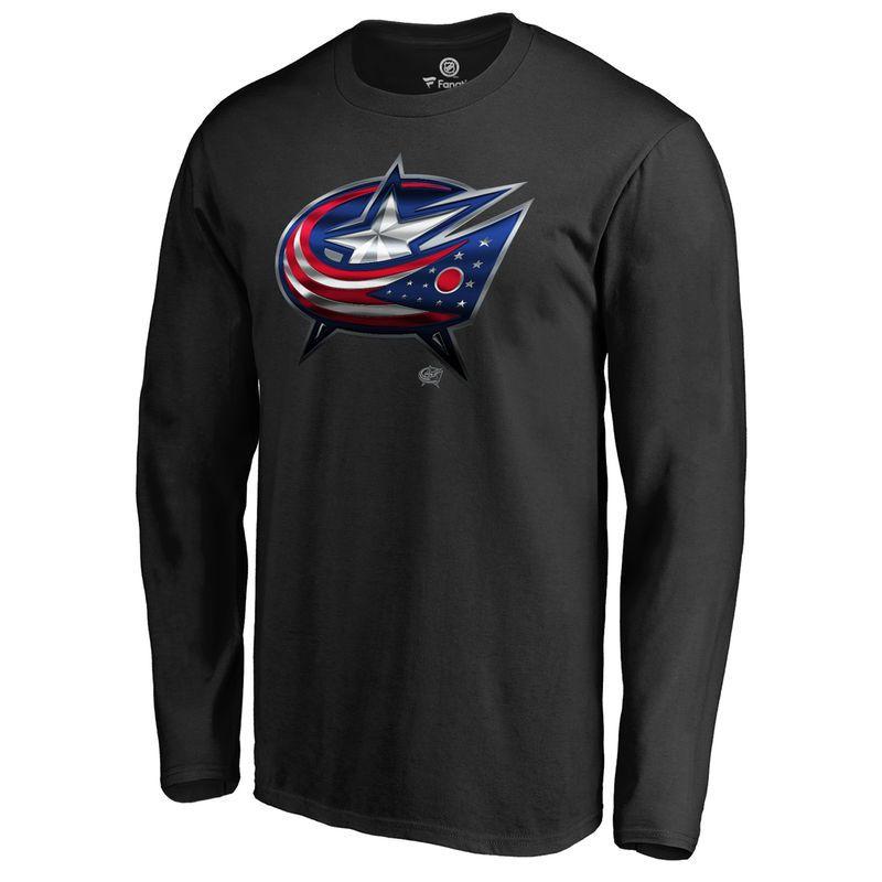 Men s Fanatics Branded Black Columbus Blue Jackets Midnight Mascot Long  Sleeve T-Shirt 2a541a0e7