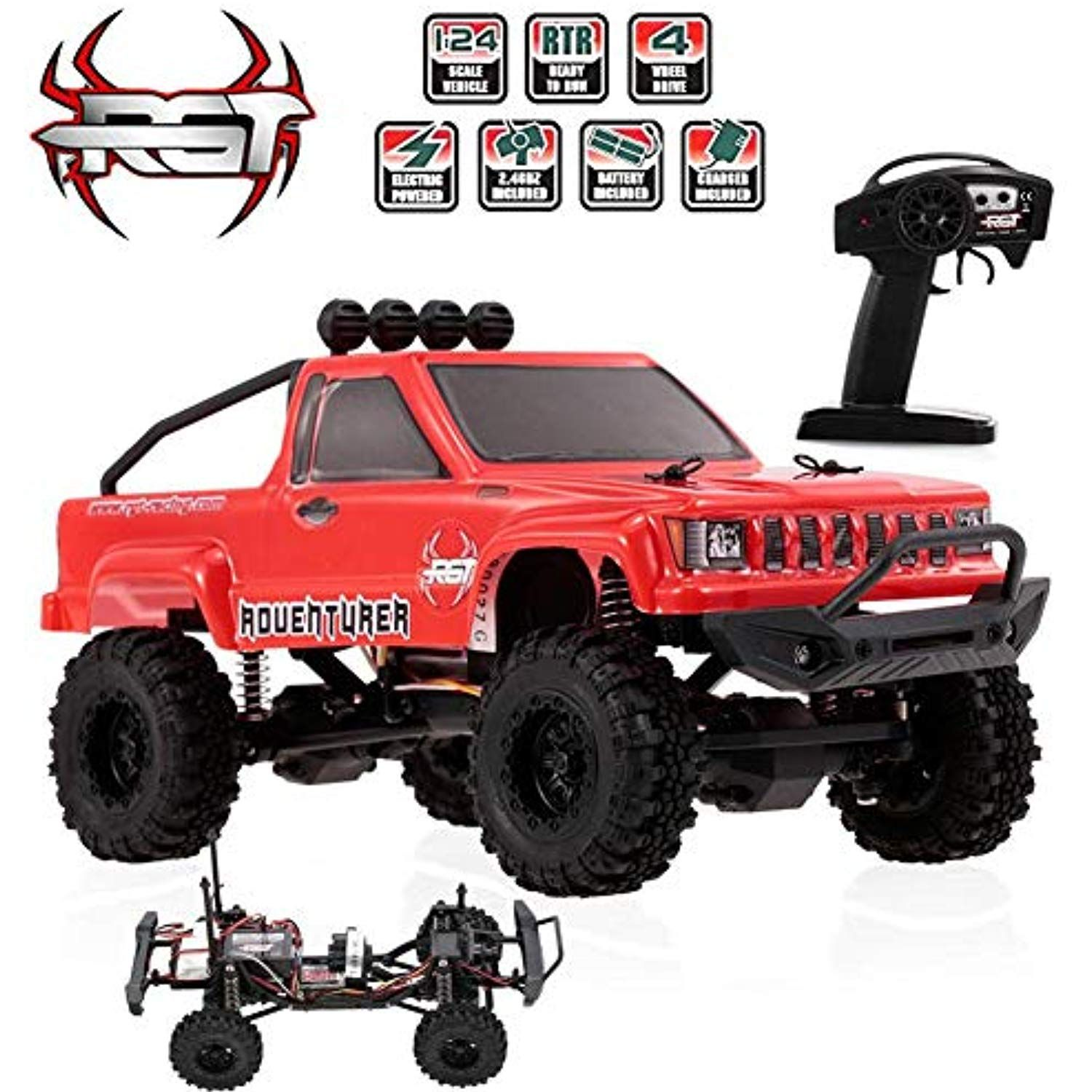 Vovi Jeep Epic Truck Rc Car Toy For Kids Ford Raptor F 150 Red