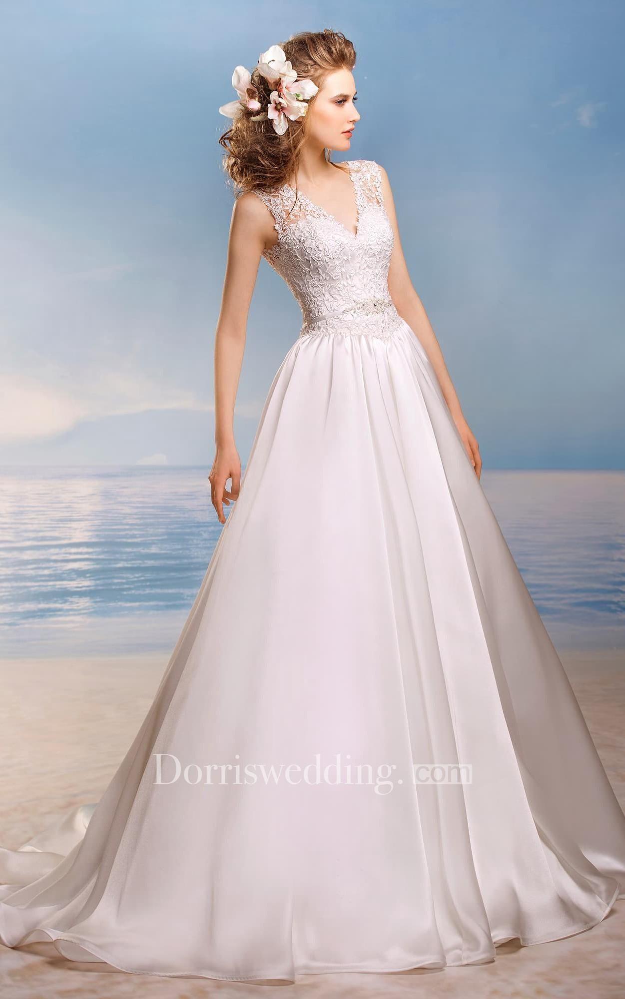 Dorris wedding dorris wedding aline long vneck sleeveless lowv