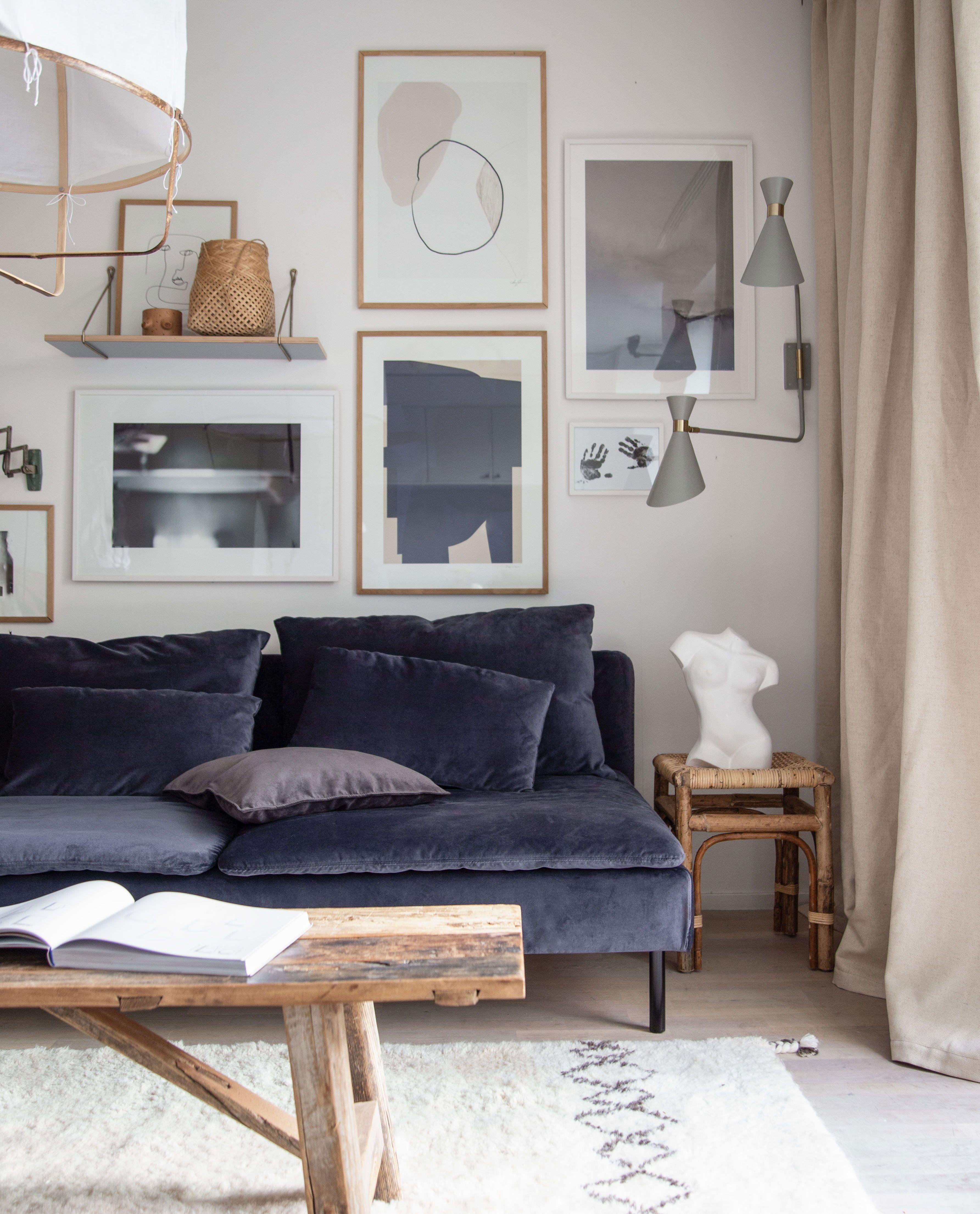 Bemz Cover In Indigo Simply Velvet For Ikea Soderhamn Sofa In 2020 Living Room Scandinavian Scandinavian Home Living Room Decor