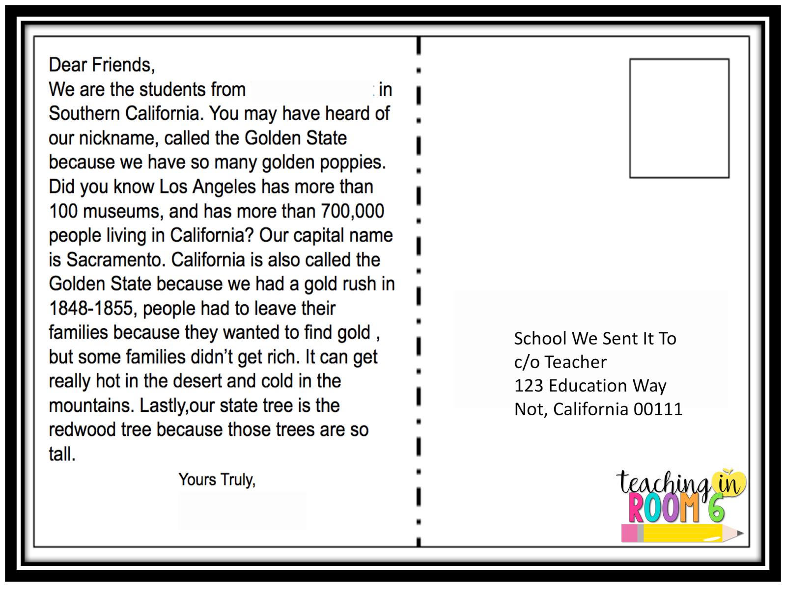 50 State Postcard Exchange Adding A Bit Of Tech Teacher Postcards State Lesson Social Studies Resources
