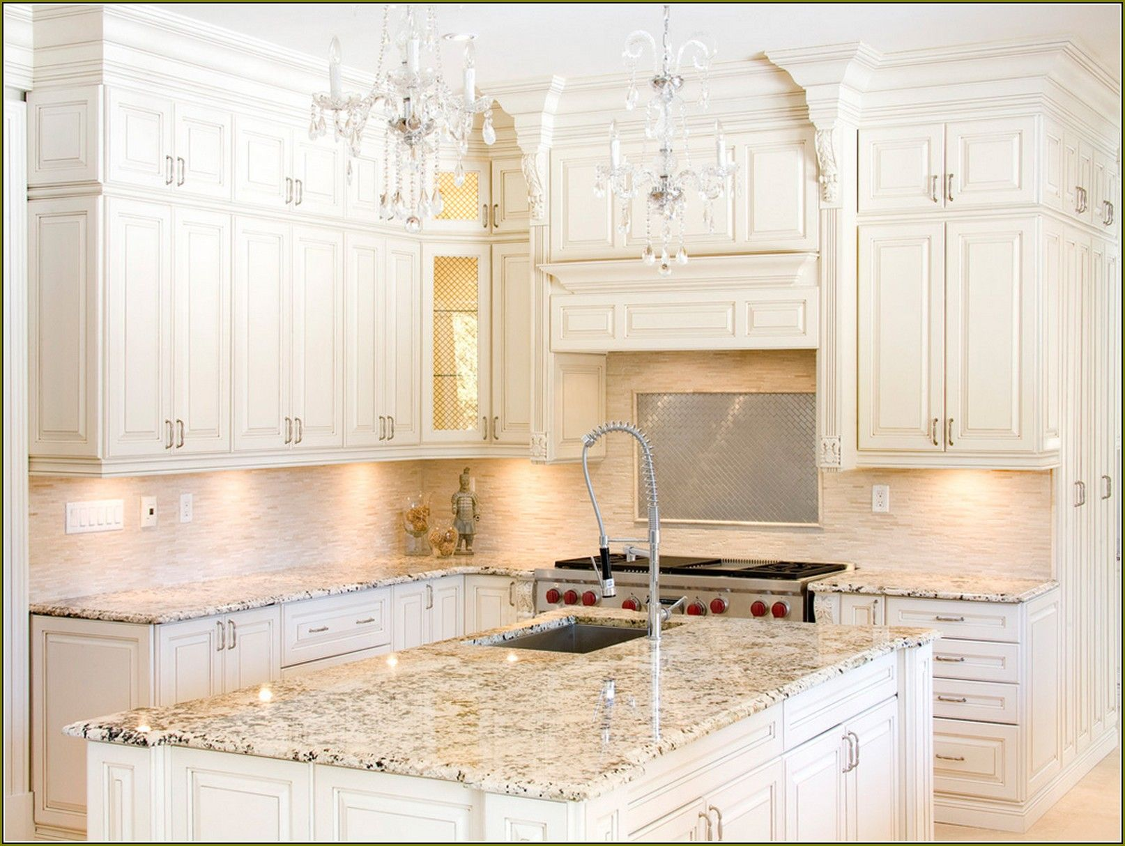 Off white kitchen cabinets with granite countertops Granite kitchen design ideas