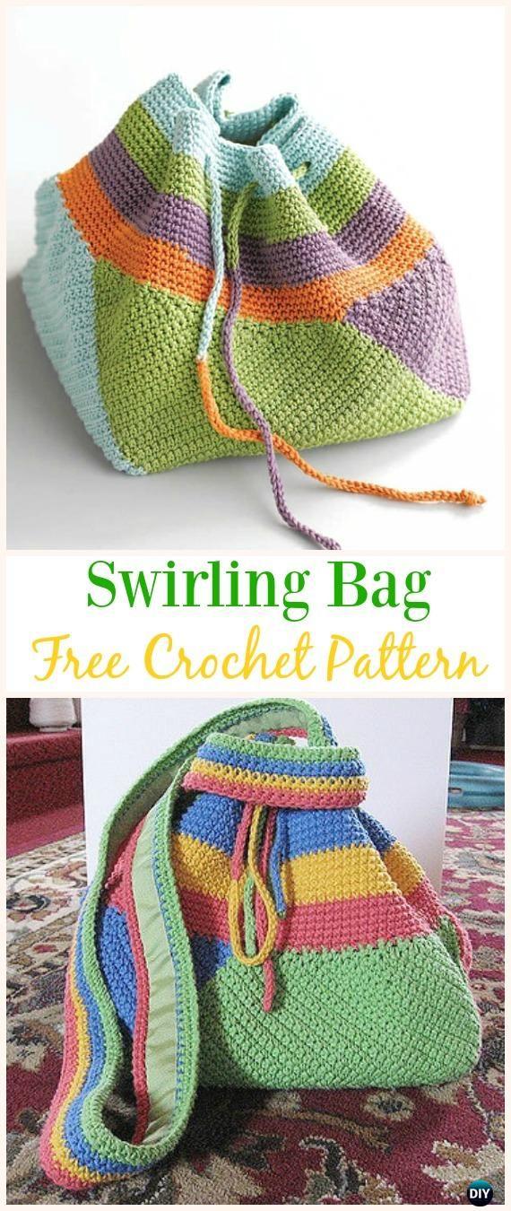 Swirling Bag Free Crochet Pattern -#Crochet Drawstring #Bags Free ...