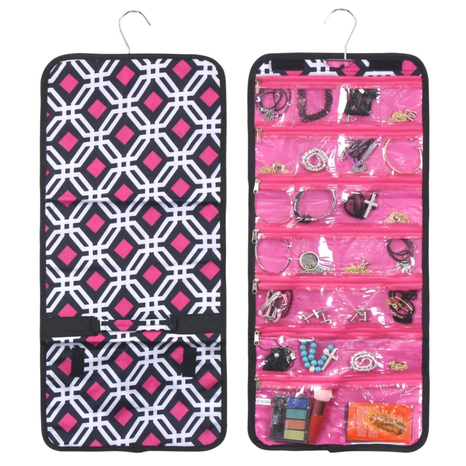 Zodaca Pink Jewelry Roll Graphic Jewelry Hanging Travel Organizer