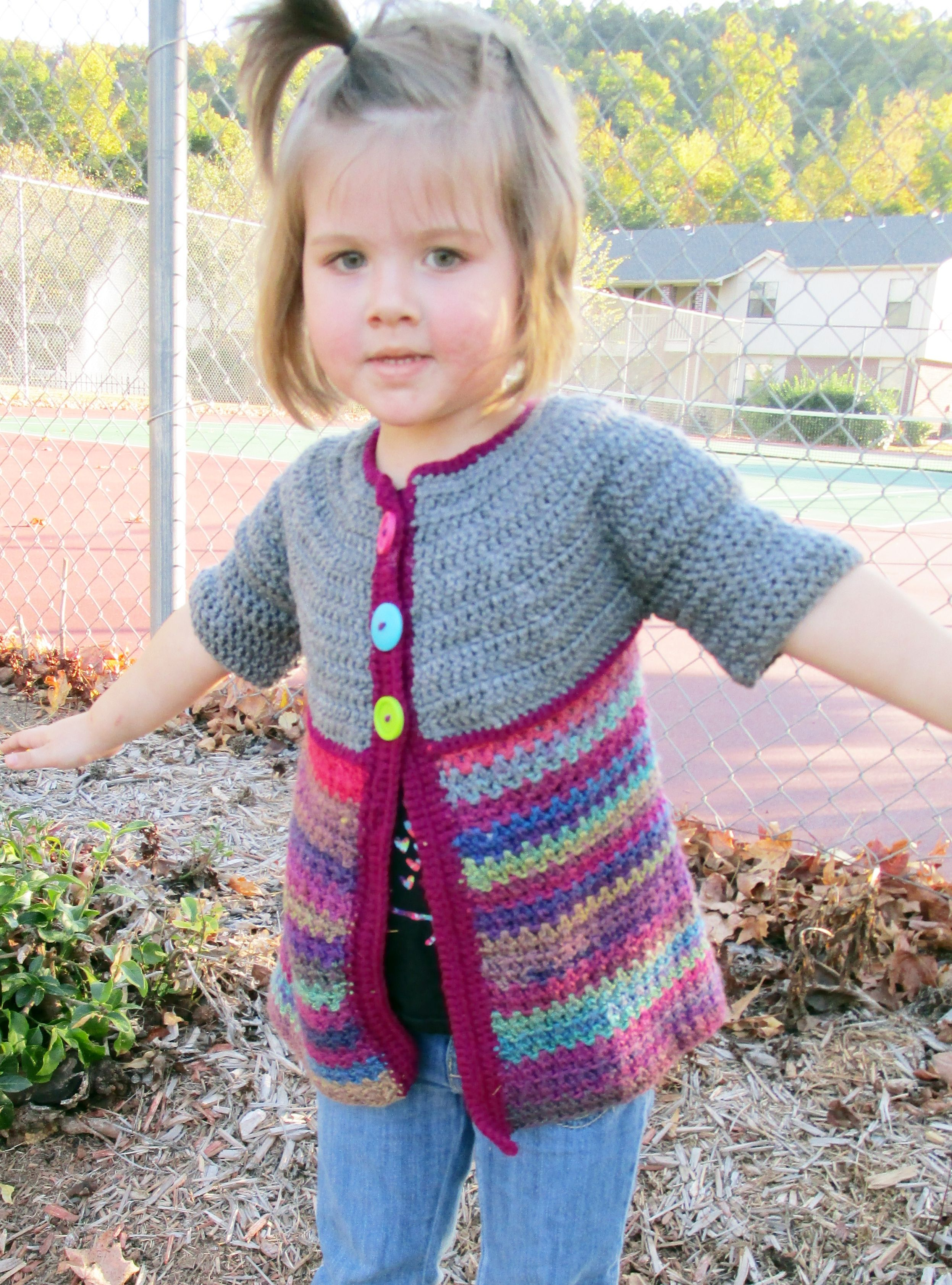 Sweet toddler sweater jacket *free pattern | Crocheting | Pinterest ...