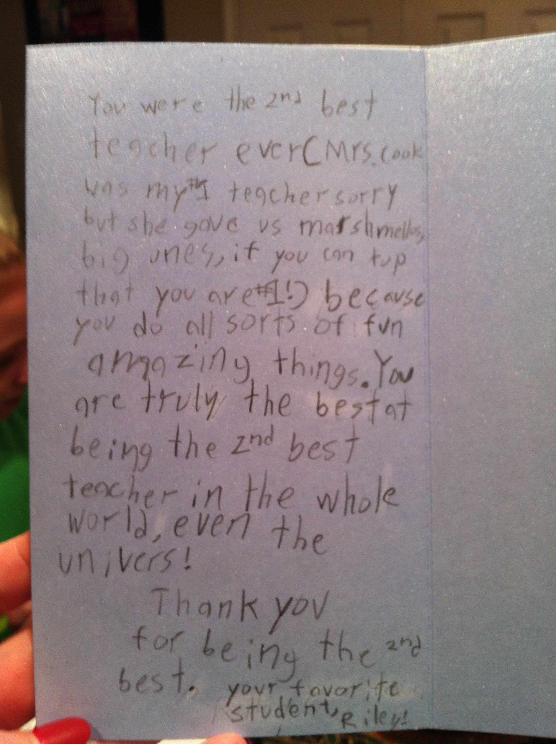 This is my daughters letter to her teacher for Teacher