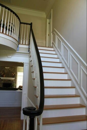 White Spindles Risers With Dark Handrails Black Stair | Black Banister With White Spindles | Brazilian Cherry Stair | Victorian | Traditional Home | Iron Spindle White Catwalk Brown Railing | Gray