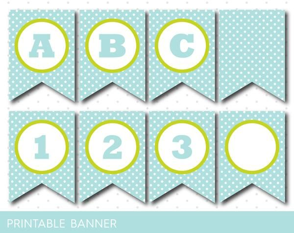 Green Mint Banner Party Banner Birthday Banner Baby Shower