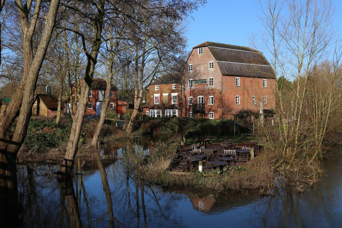 January 13th 2014. The floods in Titchfield have now receded somewhat and the pub furniture in the foreground is no longer floating.