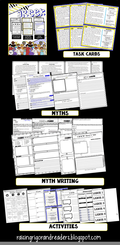 Greek Mythology Unit Stories Activities Task Cards