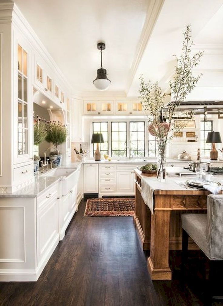 50 elegant farmhouse kitchen decor ideas (1 | Farmhouse kitchen ...