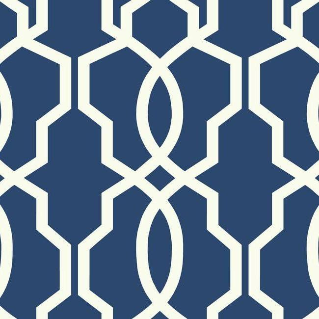 Hourglass Trellis Wallpaper in Blue and White design by York Wallcoverings
