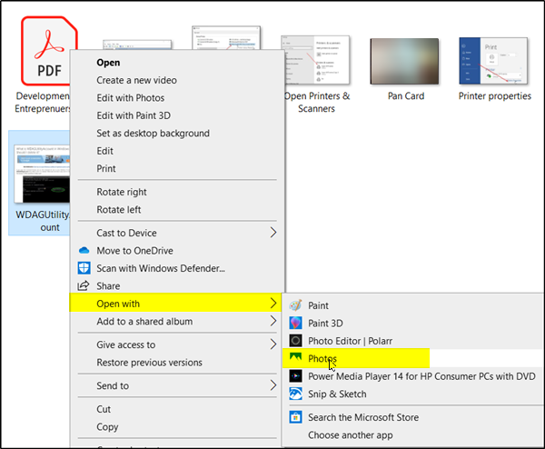Save Captured Screenshot As Pdf Using Windows 10 Photos App