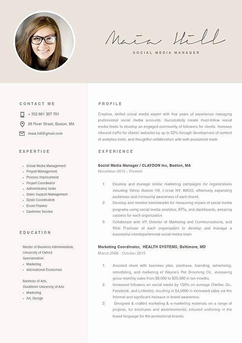 social media manager resumes new showcase resume design template