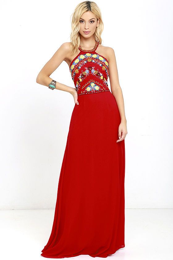 868534a4c0 Our love for perfect floral designs is perfectly reflected in the All My  Life Red Embroidered Maxi Dress! A modified halter neckline