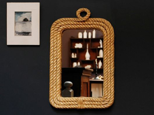 Rope Trim Wall Mirror - love the loop on the top.