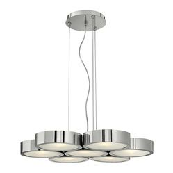 Frederick Ramond - Fredrick Ramond Broadway 7-Light Chandelier - The sleek  contemporary cable hung Broadway pendant in a Polished Aluminum finish features a low-profile circular light pod with etched glass diffuser. A detailed mesh up light diffuser adds sophistication to this chic design.