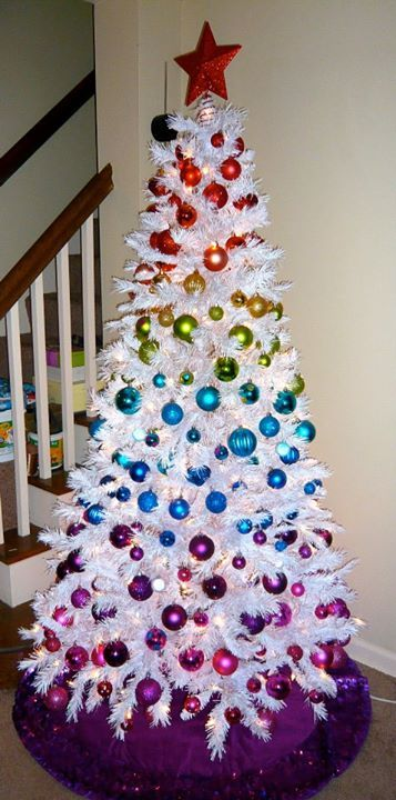 I Rounded Up My Favorite Ideas To Do With A White Christmas Trees On Pinterest Unfo Rainbow Christmas Tree Rainbows Christmas White Christmas Tree Decorations