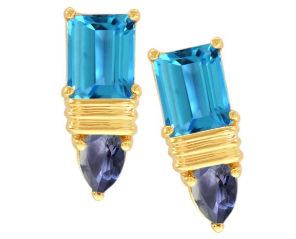 14K Yellow Gold Octagon Swiss Blue Topaz and Pear Shaped Iolite Gemstone Earrings on sale for $230
