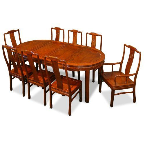 80in Rosewood Oval Dining Table With 8 Chairs Chinese Longevity
