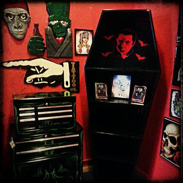 Coffin BookCase www.spitfireinteriors.com   Horror Decor ...