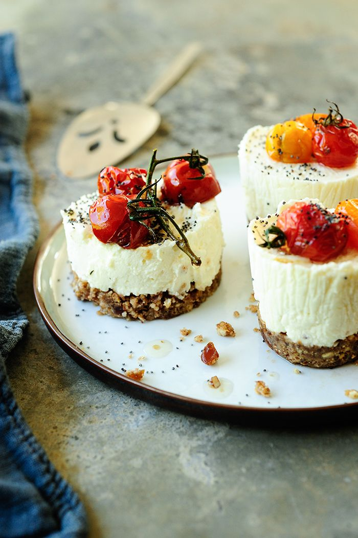 serving dumplings | savory-goat-cheese-and-roasted-tomatoes-mini-cheesecakes