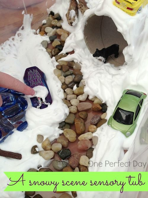 A fun and simple snowy sensory tub using shaving foam. Great for sensory and imaginative play!