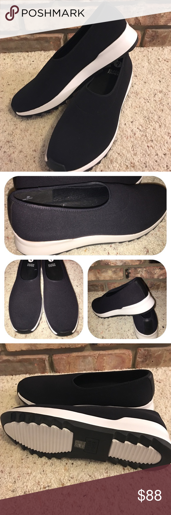 Eileen Fisher New Black Mesh Flex Slip on Loafer 9 New without box. Nice comfortable black mesh slip on flats with rubber sole. With non-slip grip bottoms. Eileen Fisher Shoes Flats & Loafers