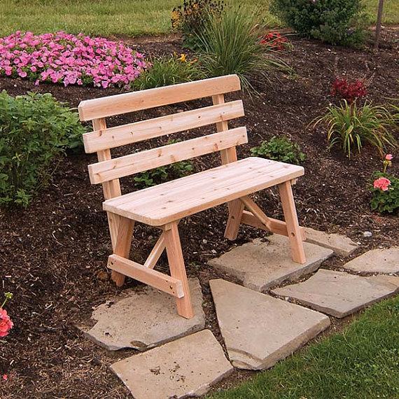 Red Cedar Traditional Backed 4ft. Outdoor Bench | Bancos de jardín ...