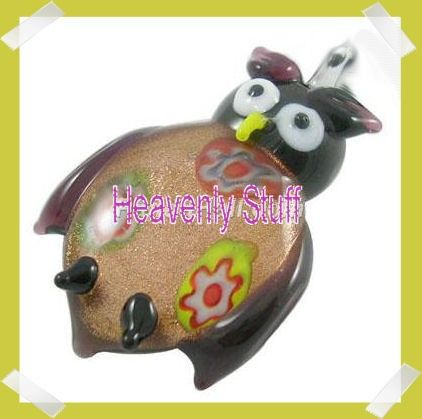 12 MILLEFIORI GoldSand LAMPWORK GLASS Owl by heavenlystuff4you (Craft Supplies & Tools, Jewelry & Beading Supplies, Pendants, lampwork, glass, gold sand, owl, focal bead, millefiori, pendant, LOT, DESTASH)