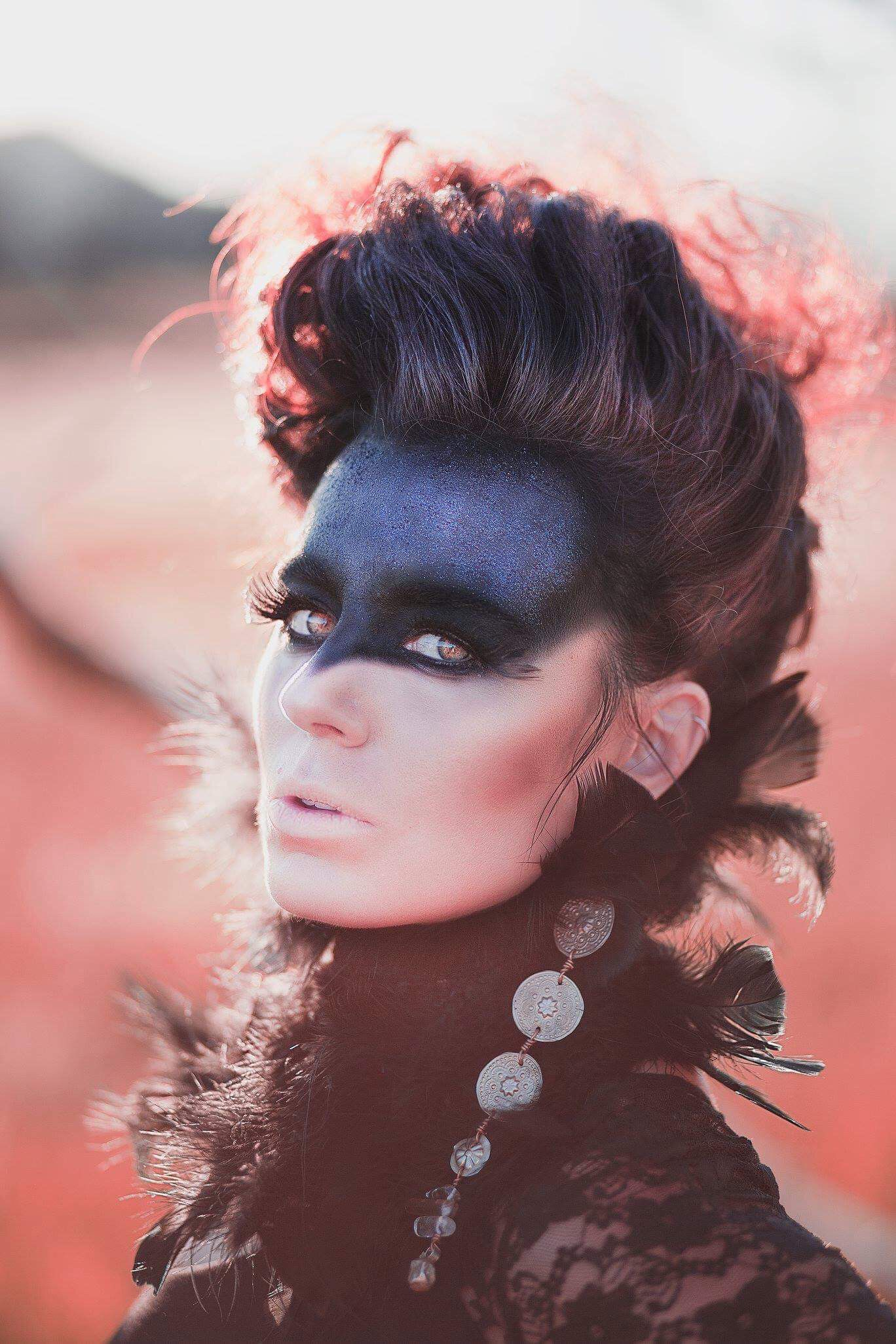 High fashion photography raven inspired makeup by justine