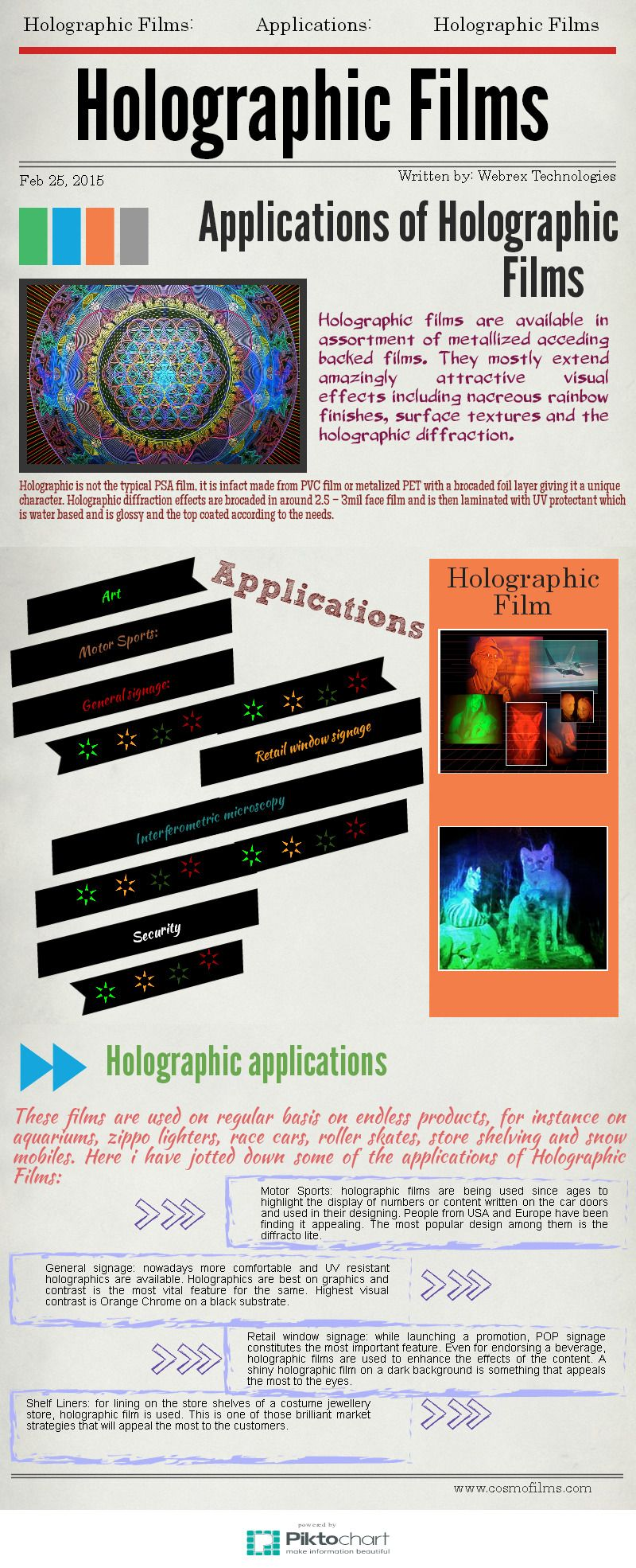 Holographic films are available in assortment of metallized acceding backed films. They mostly extend amazingly attractive visual effects including nacreous rainbow finishes, surface textures and the holographic diffraction.