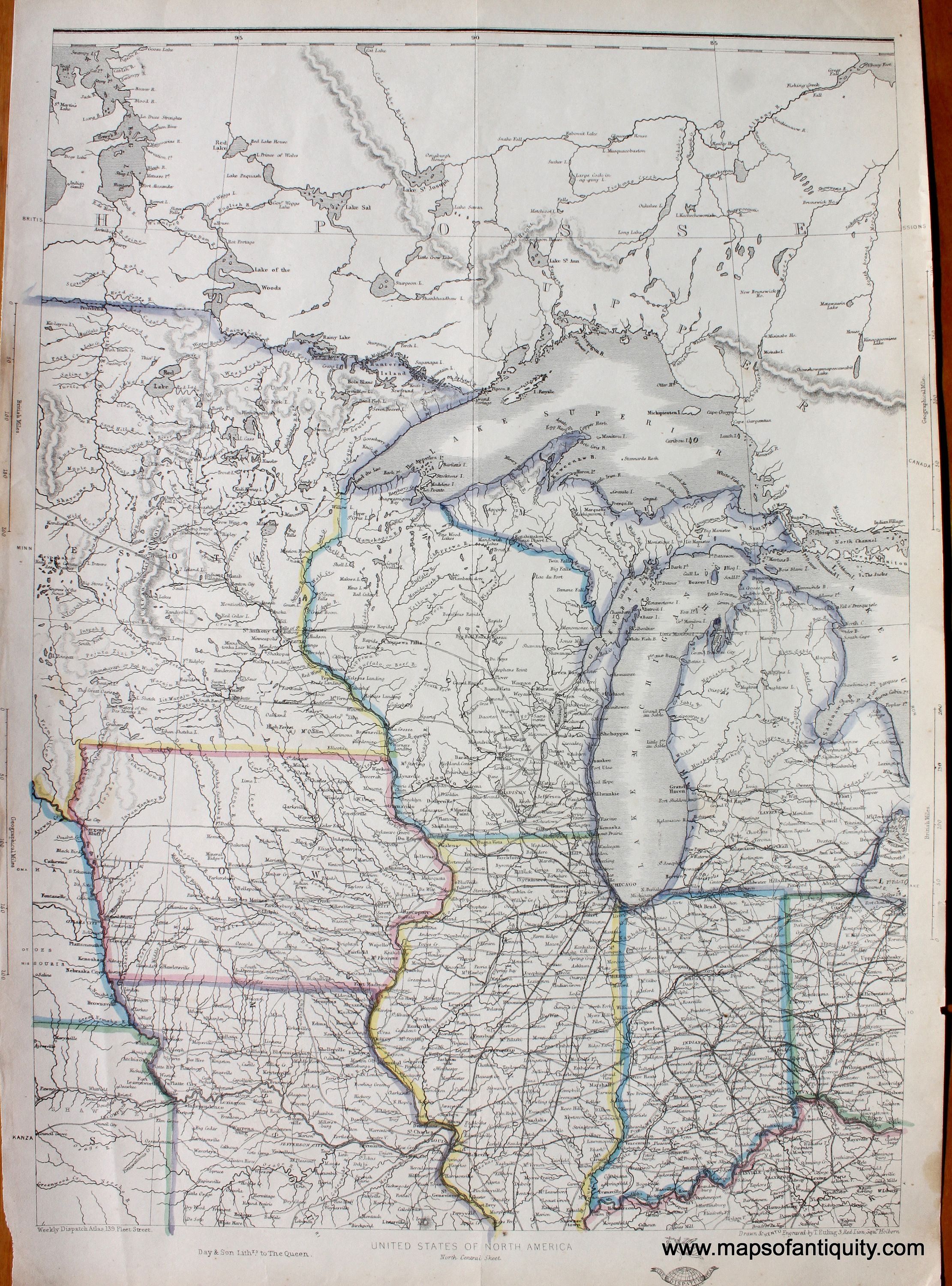 North Central Us Map.Northern United States North Central Sheet Antique Maps And