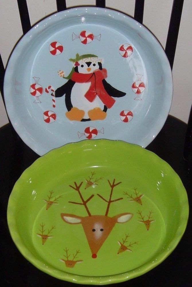 Details about Set of 2 Christmas Pie 10 \  Plates Dishes Penguin Candy Cane Reindeer Nantucket & Details about Set of 2 Christmas Pie 10 \